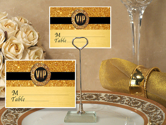 Place Card Holder with Gold Vip Design Card