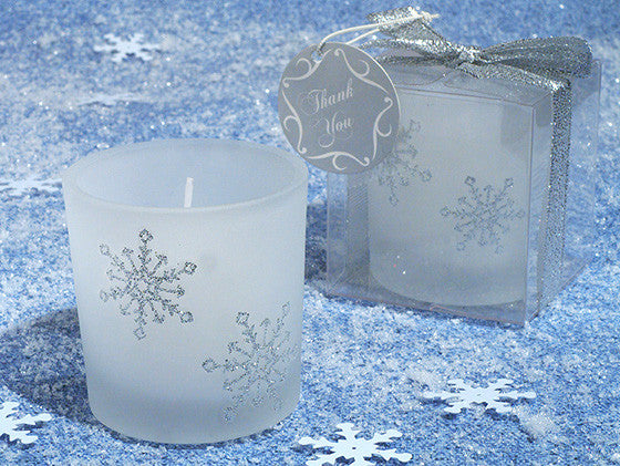 """Winter Wonderland"" Wedding Frosted Glass Votive Candle Holder"