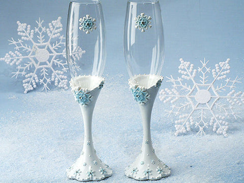 """Winter Wonderland"" Wedding Toasting Flutes"