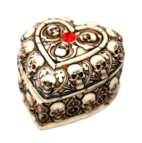 Gothic Wedding Ivory Heart Favour Box with Skulls