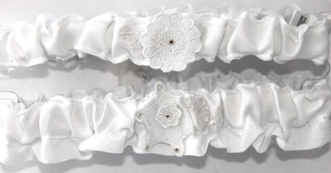 """Snowflake"" Winter Wedding Bridal Garter Set"