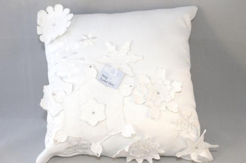 """Snowflake"" Winter Wedding Large Ring Pillow"