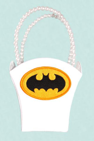 """Bat"" Superhero Theme Wedding Satin Flower Basket with Patch"