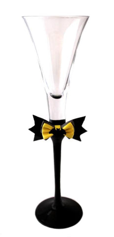"""Bat"" Superhero Theme Wedding Pair of Tall Flutes"