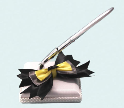 """Bat"" Superhero Theme Wedding Satin Pen Base with Bow and Pen"