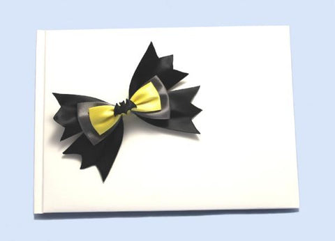 """Bat"" Superhero Theme Wedding Guest Book with Bow"