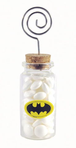 """Bat"" Superhero Theme Wedding - 18 Glass Jar with Place Card Holders"