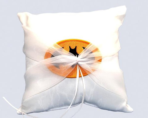 """Bat"" Superhero Theme Wedding Ring Pillow with Patch"