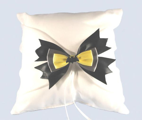 """Bat"" Superhero Theme Wedding Ring Pillow with Bow"