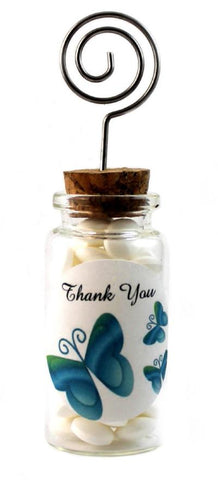 Blue / Green Wedding Glass Jar with Place Card Holder
