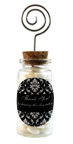 Damask Wedding Glass Jar with Place Card Holder