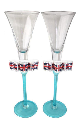"""Great Britain"" Wedding Pair of Tall Blue Flutes"