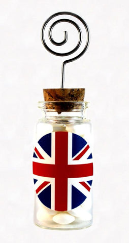 """Great Britain"" Wedding Glass Jar with Place Card Holder"