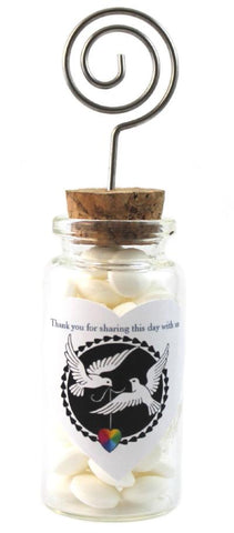 """Doves of Love"" LGBT+ Glass Jar with Place Card Holder"