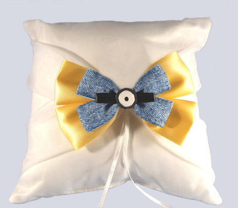 """Movie Character"" Wedding Ring Pillow with Bow"