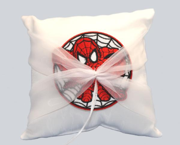 Spider Superhero Wedding Ring Pillow With Patch