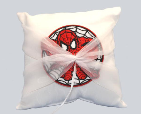 """Spider"" Superhero Wedding Ring Pillow with Patch"