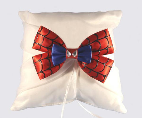 """Spider"" Superhero Wedding Ring Pillow with Bow"
