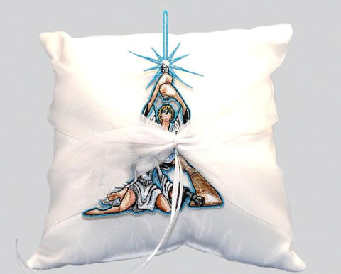 """Space Wars"" Wedding Ring Pillow  with Patch"