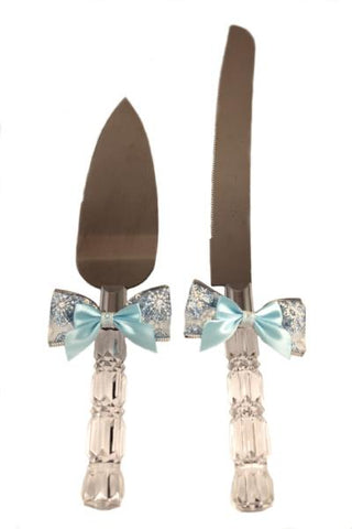 """Winter Wedding"" Crystal Cut Cake Server Set"