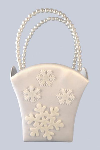 """Winter Wedding"" Satin Flower Basket with Snow Flakes"