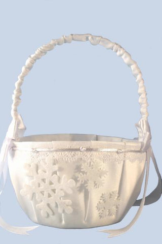 """Winter Wedding"" Oval Satin Flower Basket with Snow Flakes"