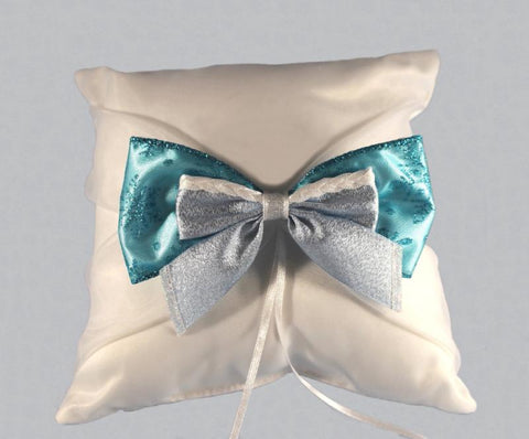 """Winter Wedding"" Ring Pillow with Bow"