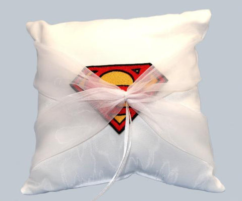 """Man of Steel"" Superhero Wedding Ring Pillow with Patch"