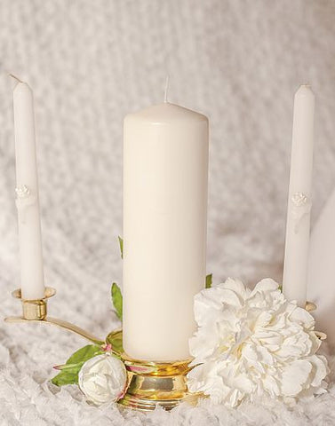 Glitter Rose Wedding Candle Tapers