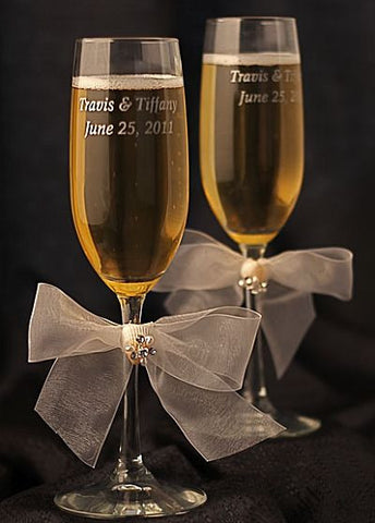 Beach Wedding Rhinestone Shell Hawaiian Toasting Glasses