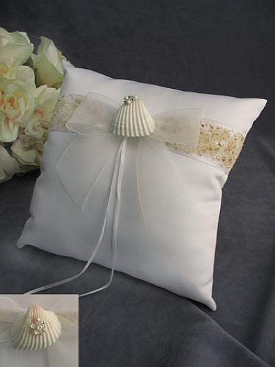 Beach Wedding Rhinestone Shell Hawaiian Ring Bearer Pillow
