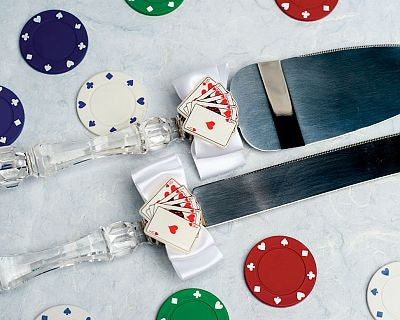 """Taking a Gamble"" Casino Wedding Cake Server Set"