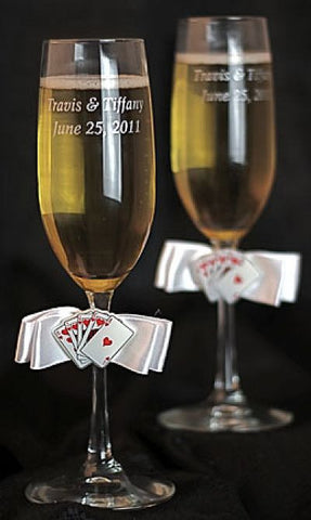 """Taking a Gamble"" Casino Wedding Toasting Glasses"