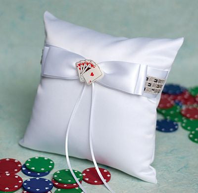 """Taking a Gamble"" Casino Wedding Ring Pillow"