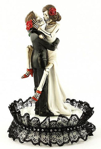 """Day of the Dead"" Gothic Black Lace Sexy Skulls Wedding Cake Topper & Base"