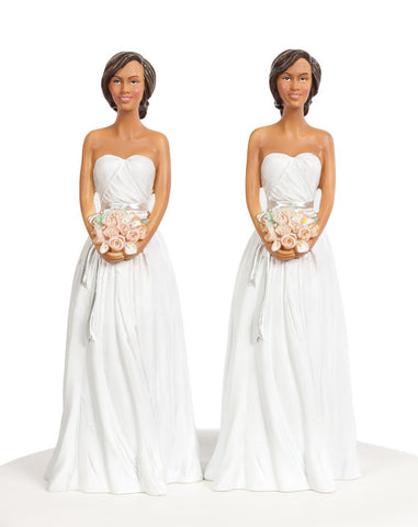 Classic Contemporary African American Mix and Match Bride Cake Topper