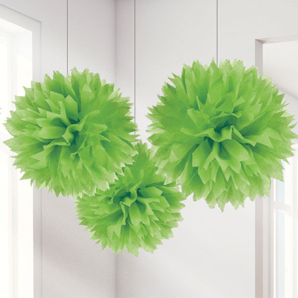 Lime Green Pom Pom Decorations - 40cm, pack of 3