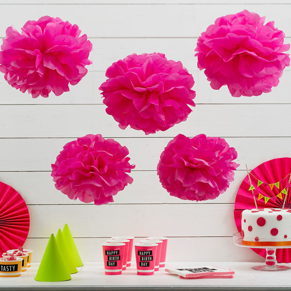 Neon Pink Pom Pom Decorations - 33cm, pack of 5