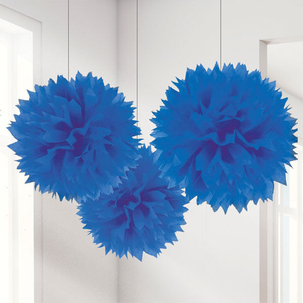 Royal Blue Pom Pom Decorations - 40cm, pack of 3