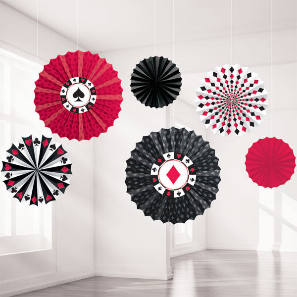 Casino Paper Fan Decorations
