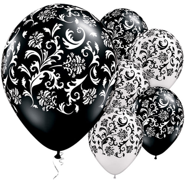 Black & Pearl White Damask Print Balloons - pack of 25