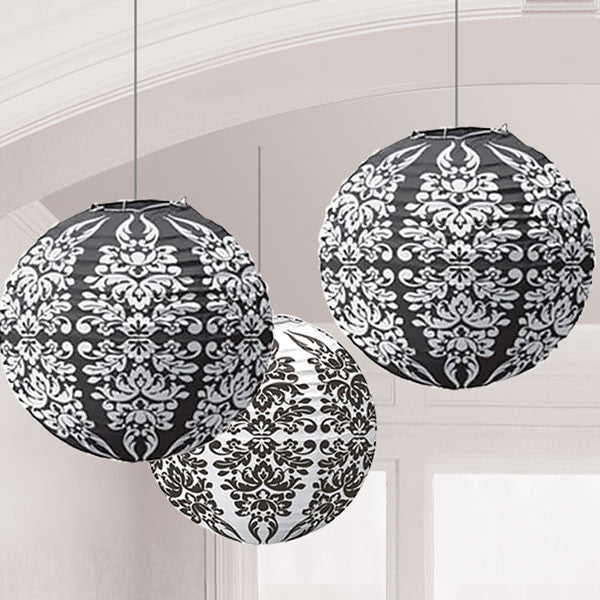 Black Damask Paper Lanterns - pack of 3