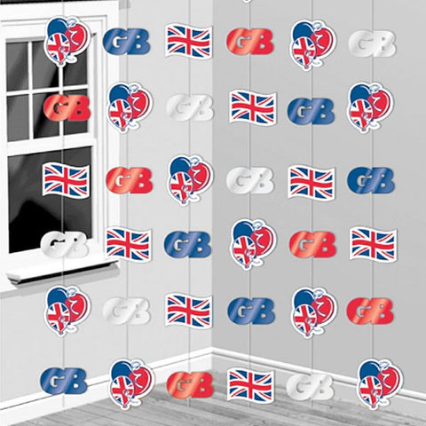 Great Britain Hanging String Decorations - pack of 6