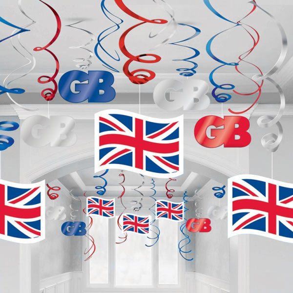 Union Jack Hanging Swirls Decorations - pack of 30