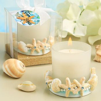 """Life's a Beach"" Wedding Candle Favours"