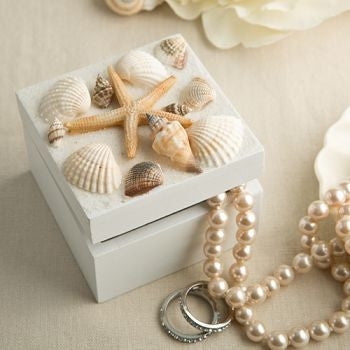 Beach Wedding Sea Shell Themed Trinket / Favour Box With Natural Shells