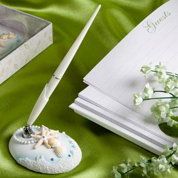 """Finishing Touches"" Collection Beach Themed Wedding Pen And Holder Set"
