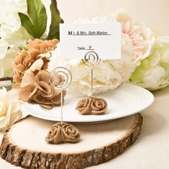 Burlap Wedding Rose Design Place Name Card Holder/Photo Holder