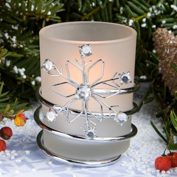 """Snowflake"" Winter Wedding Candles"