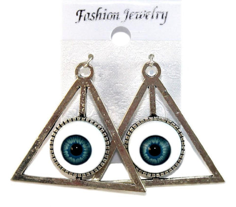 """Pyramid Eye"" Earrings Colour Blue"
